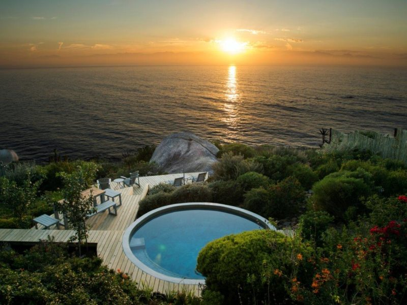This pool built for a guesthouse in Simonstown.  The brief was to create a pool and surround that blended into the natural beauty of the setting as much as possible. The access was in a word, 'difficult', the client ecstatic, and the picture says it all.