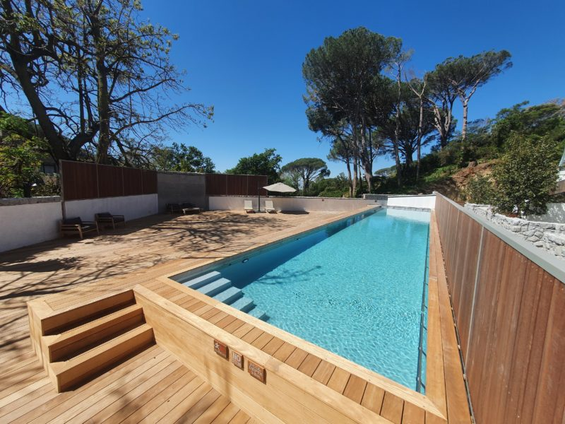 Set in higgovale gardens in an upmarket residential complex - is the communal pool built above the parking area. Cape grey fibreglass, granite tiles and immense wooden deck give a timeless elegance to this area.